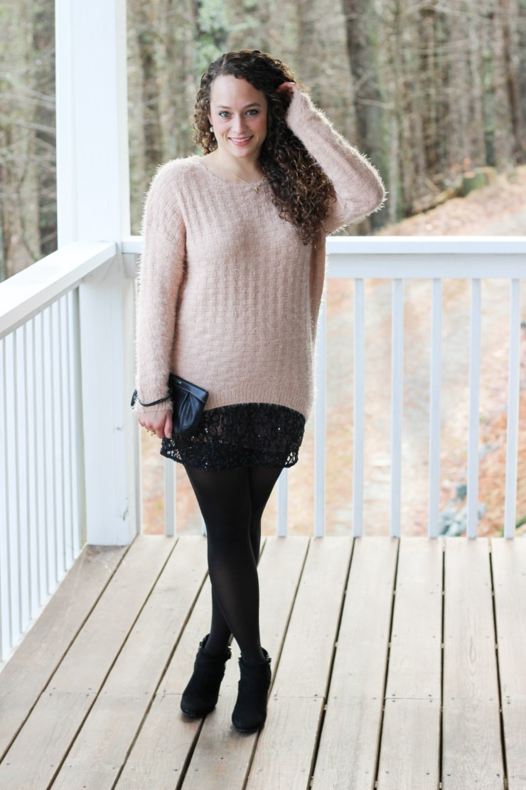New Years Eve outfit pairing black sequins with a blush sweater