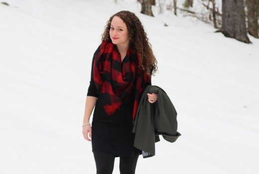 cold weather valentines day outfit, buffalo plaid scarf, bogs