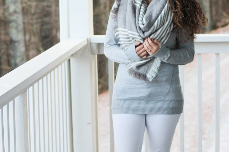 monochromatic gray and white outfit