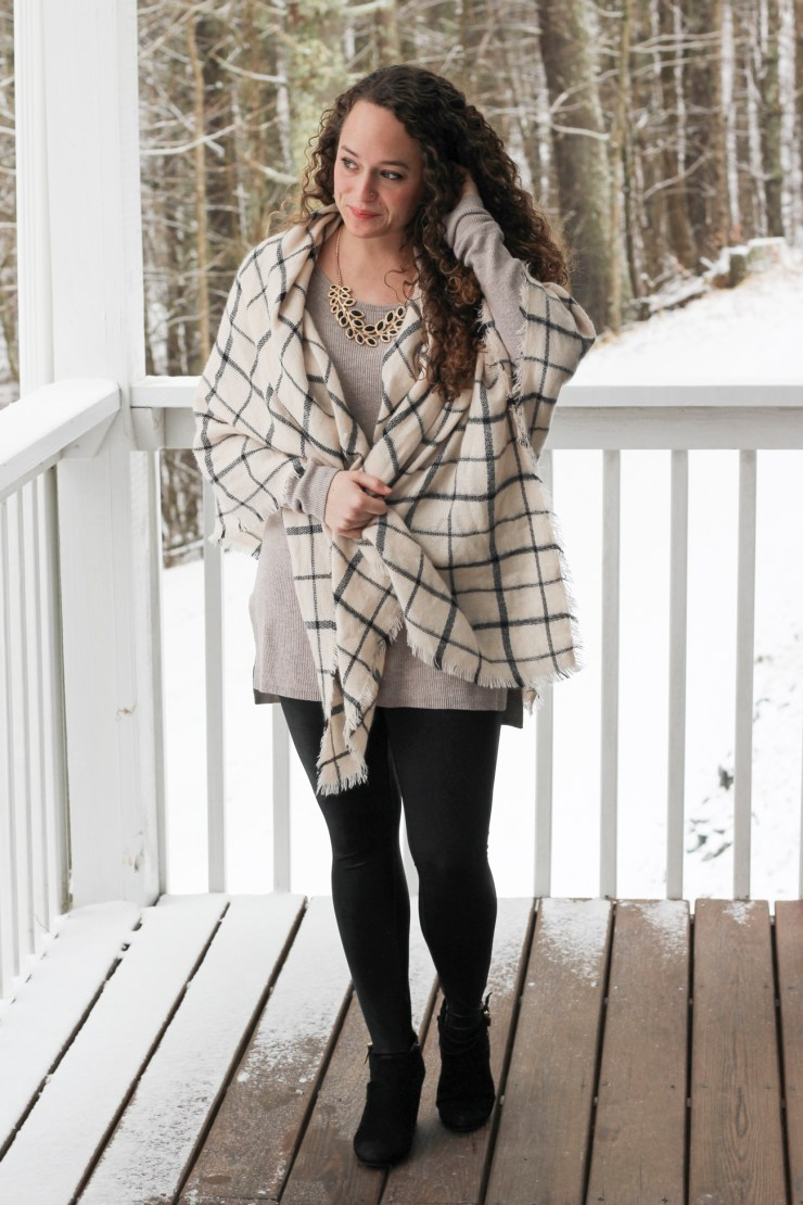 tan sweater, faux leather leggings, grid scarf, black booties
