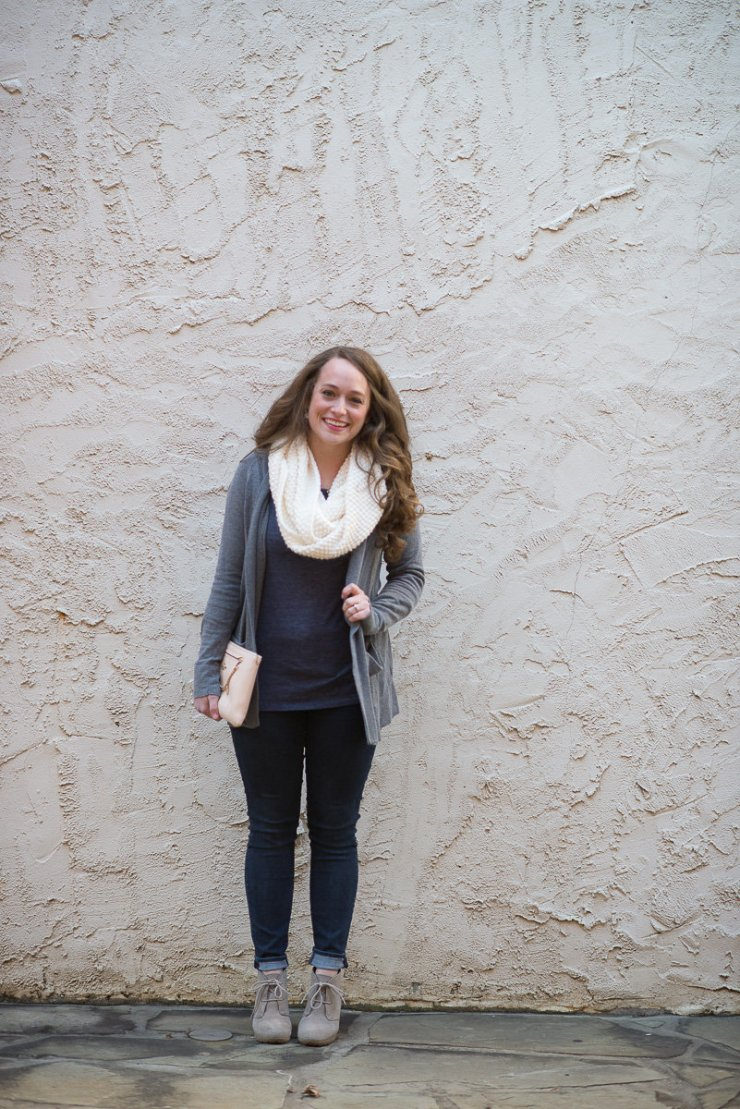infinity scarf and gray cardigan