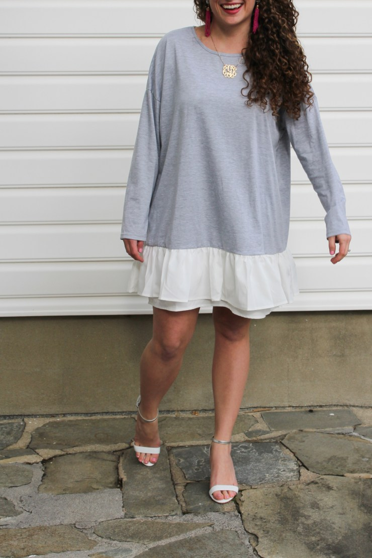 shein grey dress with white fringes spring look
