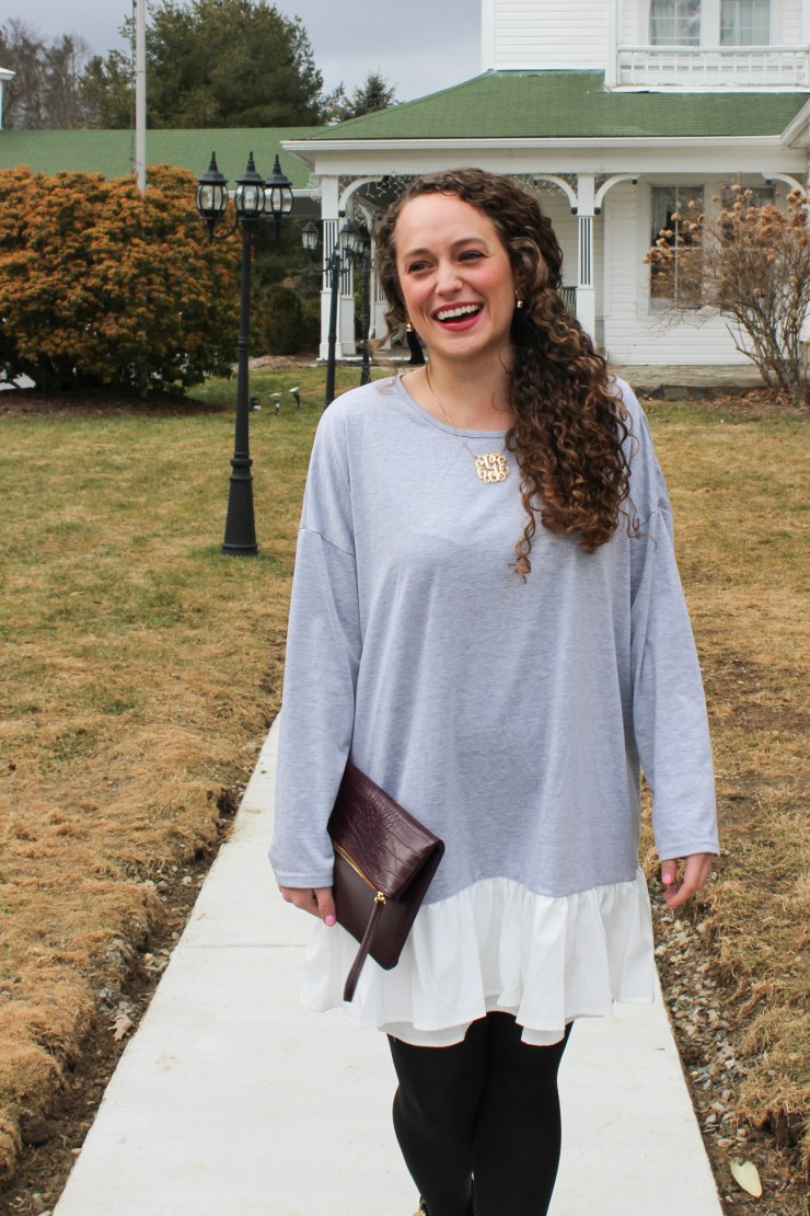 shein grey dress with white fringe winter look