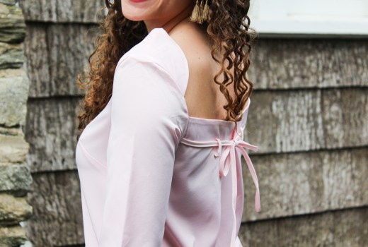 pink bow back romwe dress