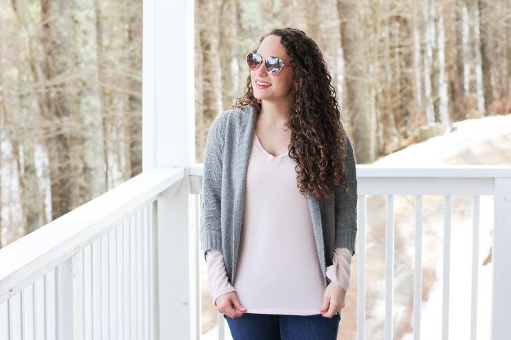 Gray anthropologie cardigan, old navy pink shirt, heart sunglasses