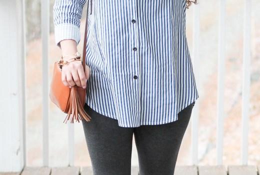 Romwe Blue Striped Shirt