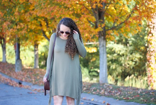 green fringe dress with wedge booties