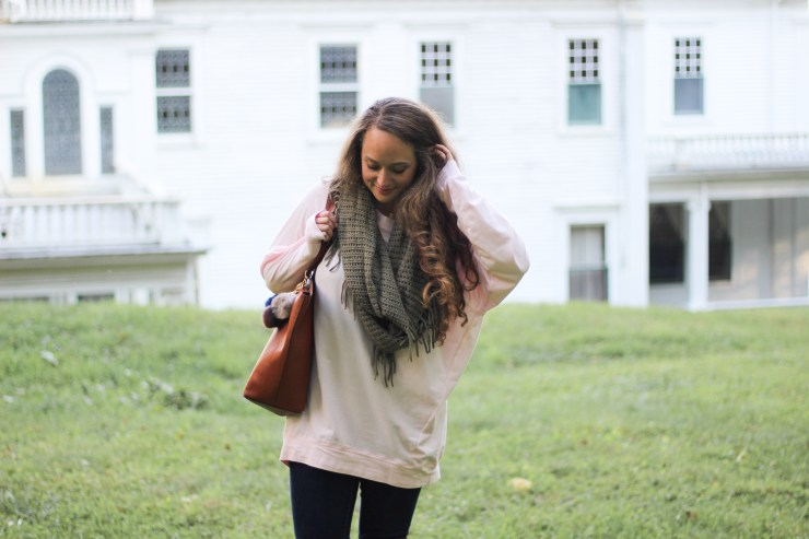 slouchy dolman top from shop the mint, light pink and olive green