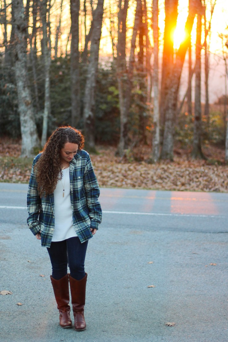 Casual Thanksgiving or Holiday outfit with plaid flannel and riding boots
