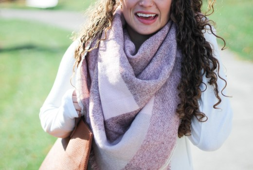 pink colorblock blanket scarf worn two ways