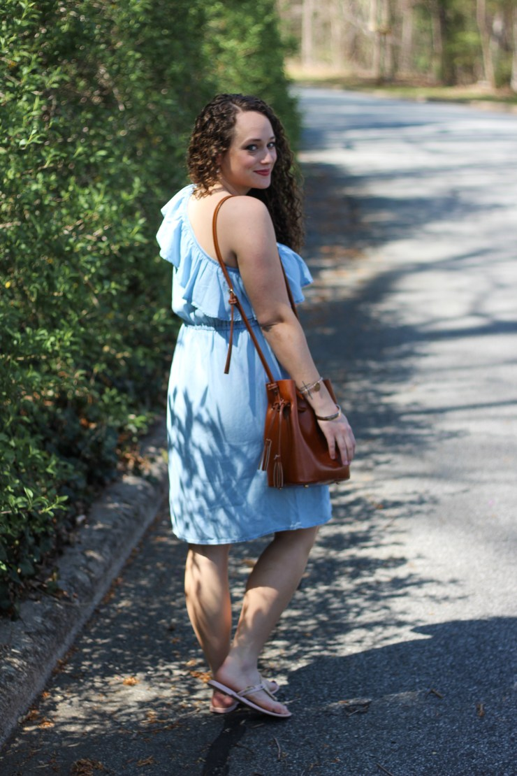 one shoulder chambray dress for spring