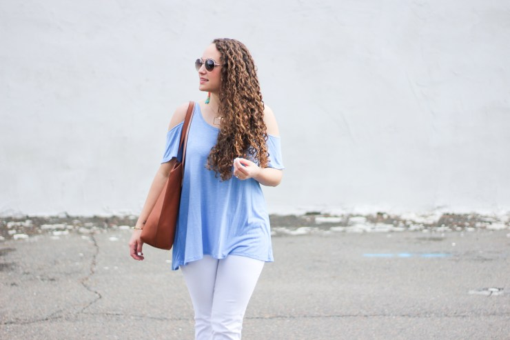 cold shoulder top, light blue and white pants, tassel earrings, spring outfit