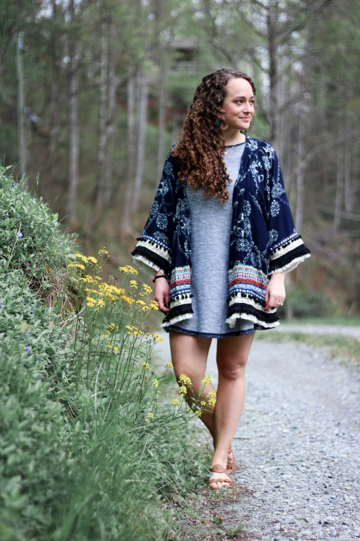 embroidery, tassel, and pom pom kimono, grey reversible dress, jack rogers, spring style
