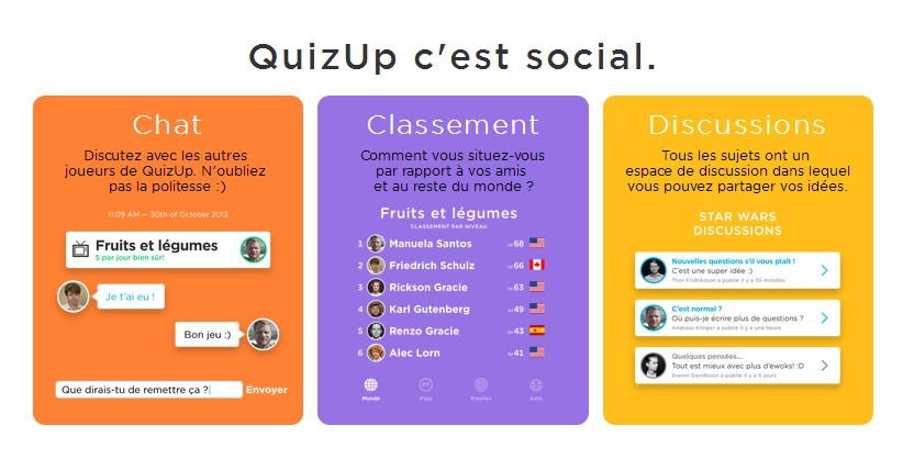 quizup, application, caputre ecran, duel, niveau, experience, profil, discussion