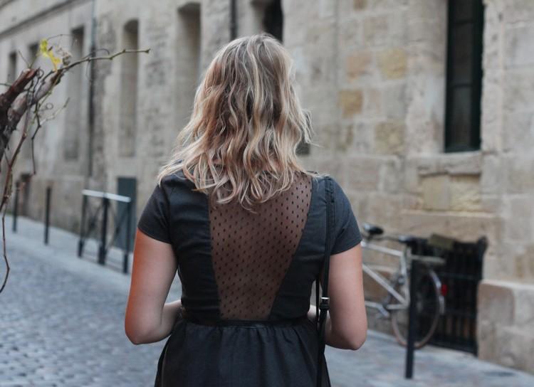 robe mademoiselle R, veste mango, echarpe, sac à main, bordeaux, chaussures bocage 16