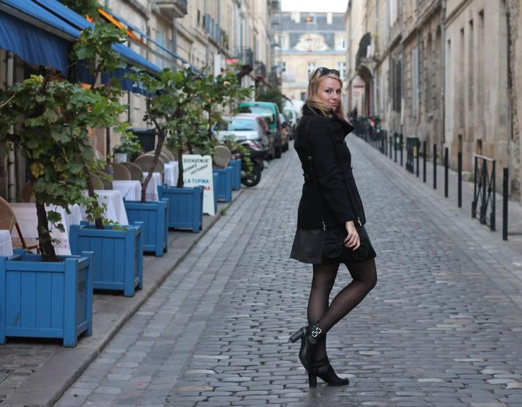 robe mademoiselle R, veste mango, echarpe, sac à main, bordeaux, chaussures bocage 8