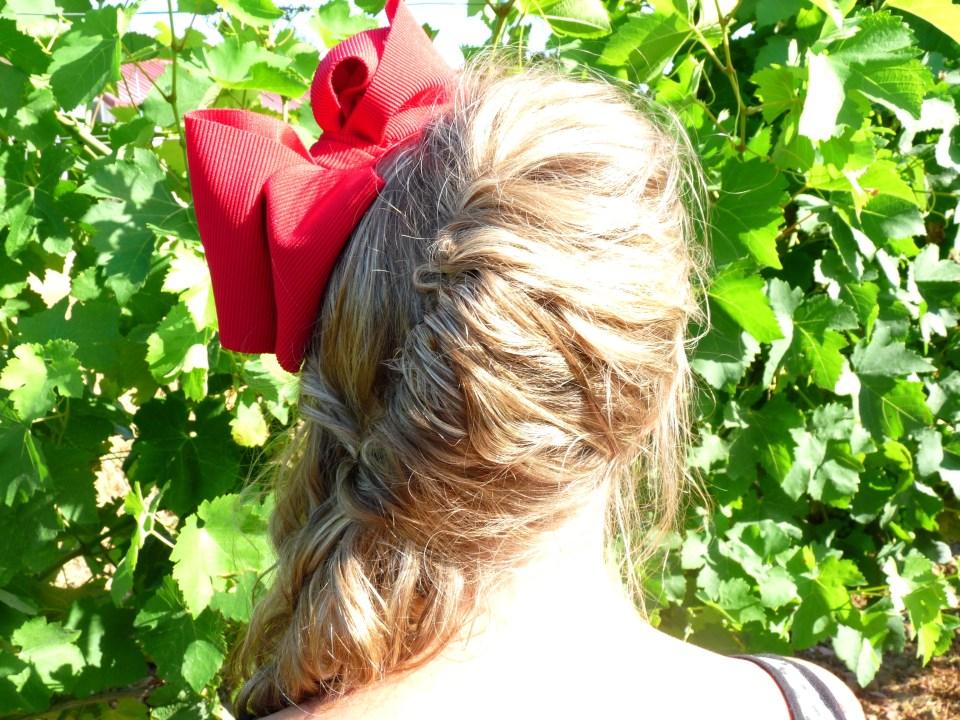 Gers, vin, vignoble, vigne, fashion, ruban rouge, serre tete, headband, noeud,sac mango8