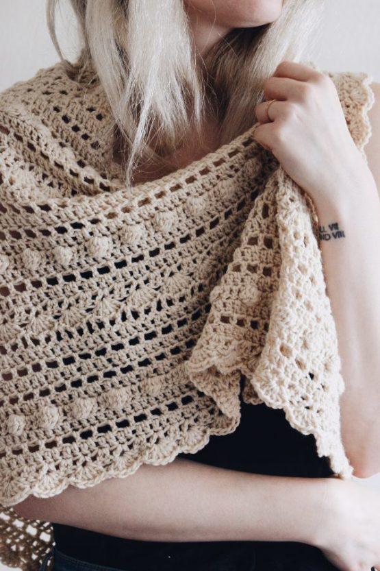 bobble shawl crochet pattern