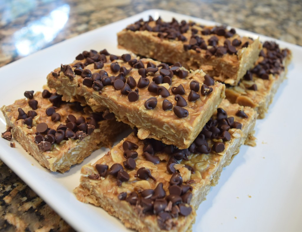 no bake chewy granola bars on plate