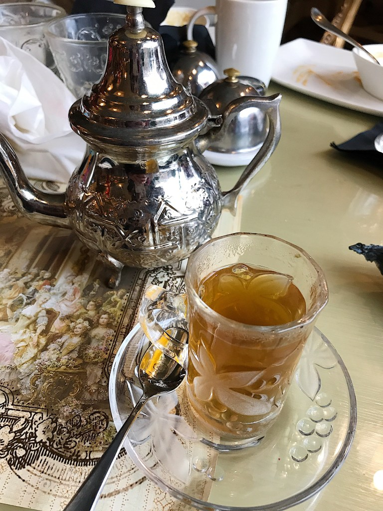 hot Moroccan tea at Shakespeare & Co.