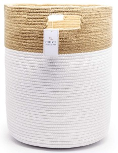 tall jute and white basket with handles
