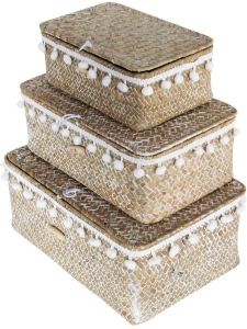 Woven Grass Storage Baskets with Lids and Pompom Trim