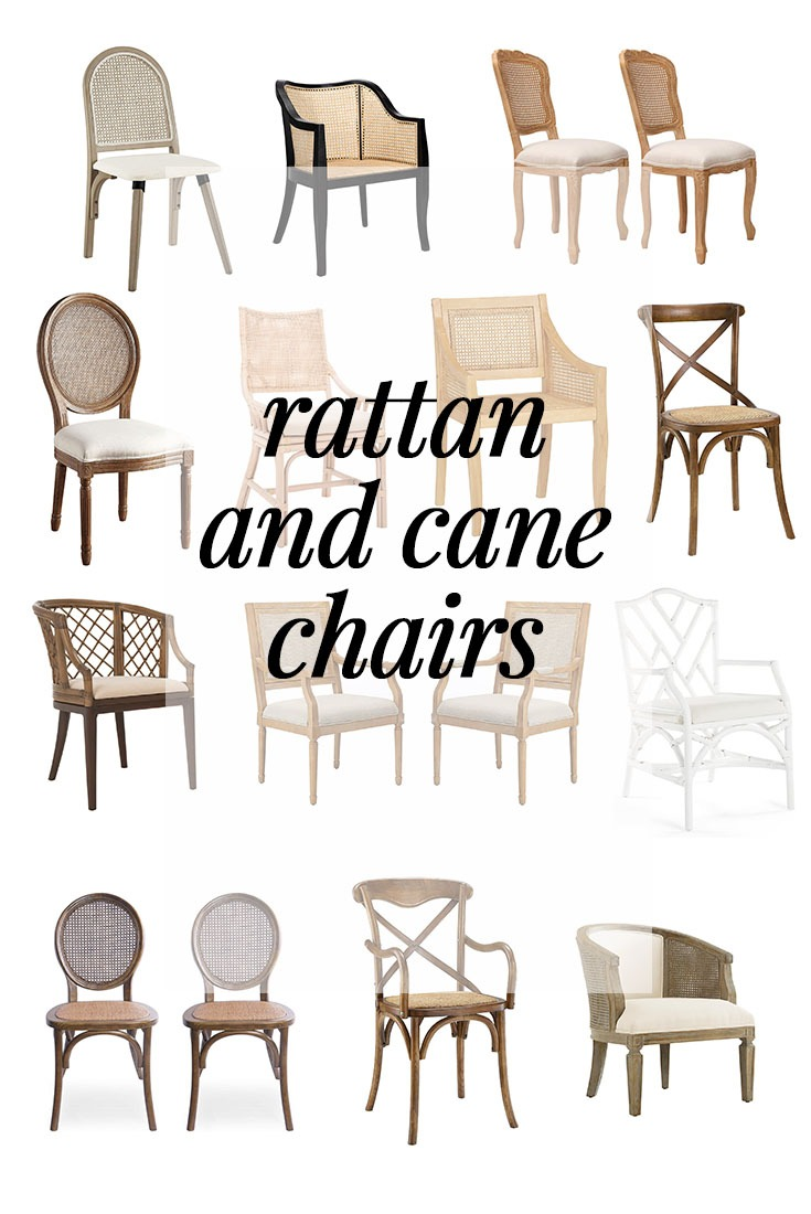 A collection of rattan and cane dining chairs