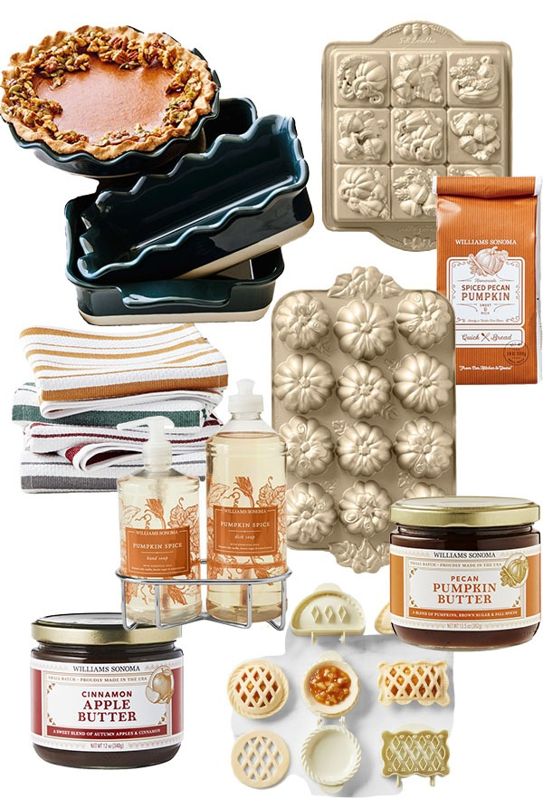 A collection of fall kitchen finds from Williams Sonoma, including gold pumpkin bakeware, jarred apple butter & pumpkin butter, striped towels, and pumpkin bread mix.