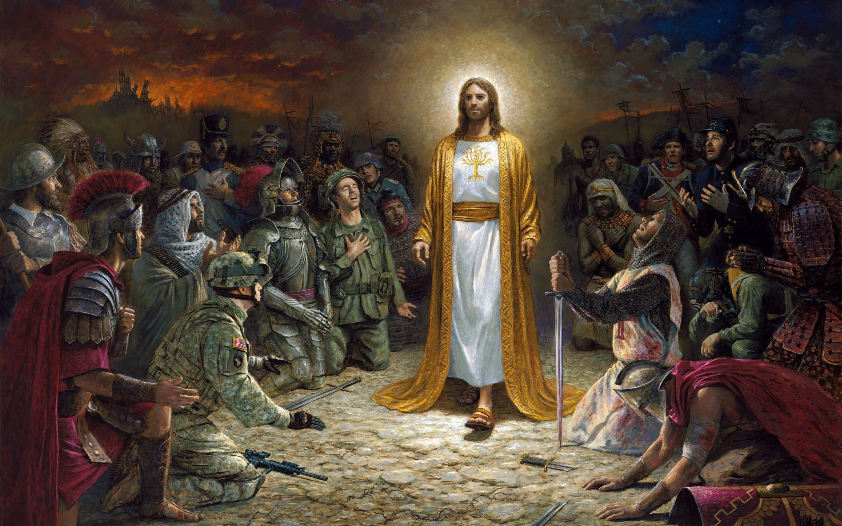 Jesus Christ standing and soldiers bowing down to him