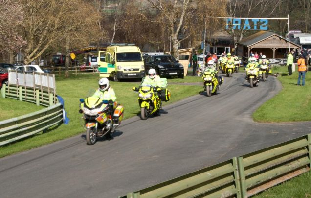Blood bikers doing the final run up the hill complete with blues & twos