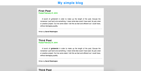 preview of simple blog page