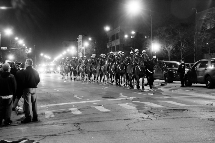 Mounted police near the UIC Pavilion where the Donald Trump rally was canceled.