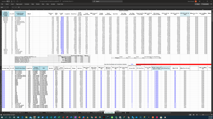 Screenshot of Legacy Pricing Workbook-Retail Sheet