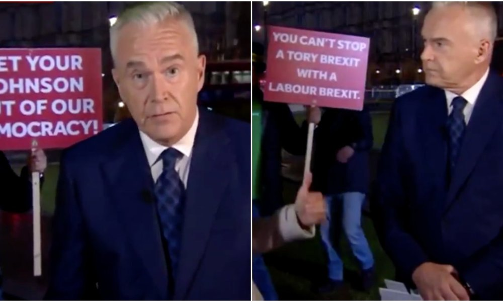A British protester delivered a lesson in persistence when he interrupted a news broadcast with a series of anti-Brexit signs