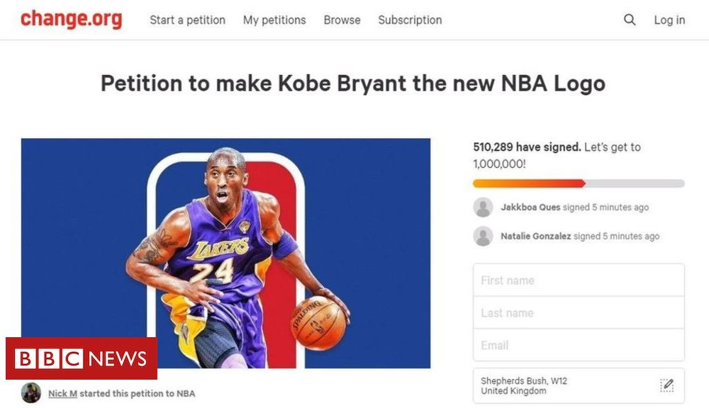Sport Petition calls for Kobe Bryant to be added to NBA logo