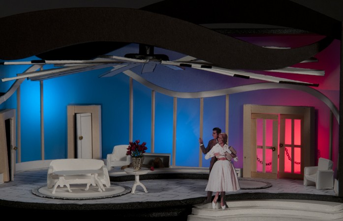 """Same Time Next Year ~ Director's """"white model"""" for theater design class"""