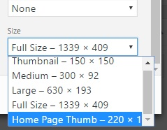 custom size for all images