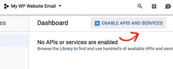 Google API add services for project