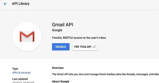 Google API using gmail API