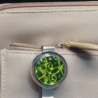 Green Dichroic Key Finder with Mandala Pattern