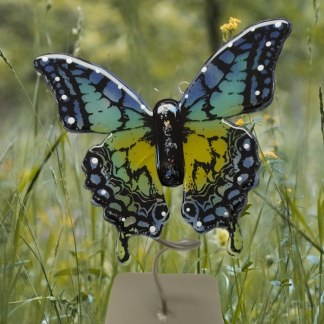 Blue, teal and yellow fused glass butterfly with metal stand. Handcrafted by DarteGlass, a woman owned company