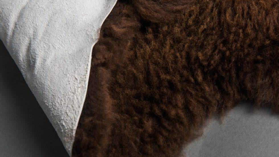 chocolate sheepskin folded