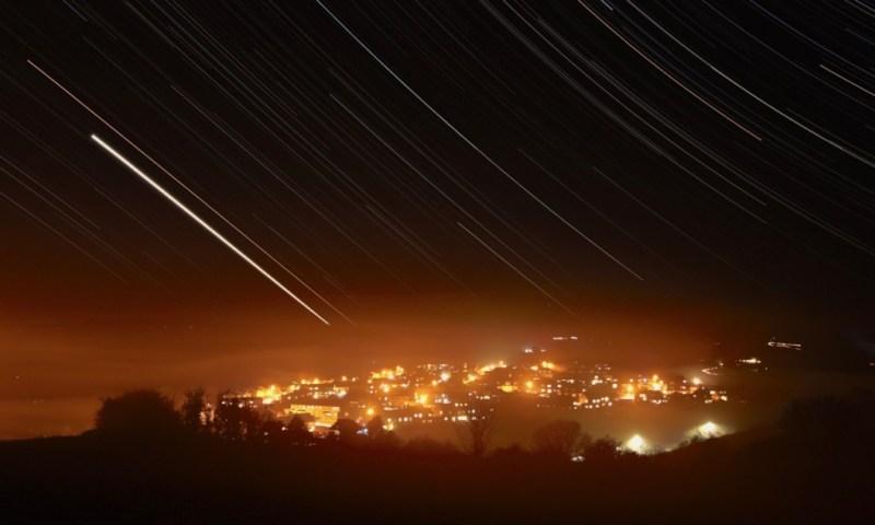 Star-trails seen against Buckfastleigh, Venus is the brightest trail