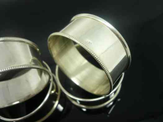 4 Egyptian Silver Napkin Rings - Dart Silver Ltd
