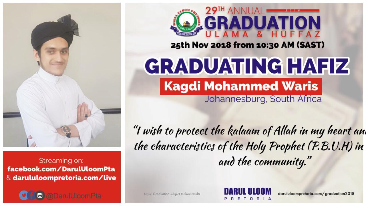 Waris  : Graduating Hafiz from Darul Uloom Pretoria in 2018