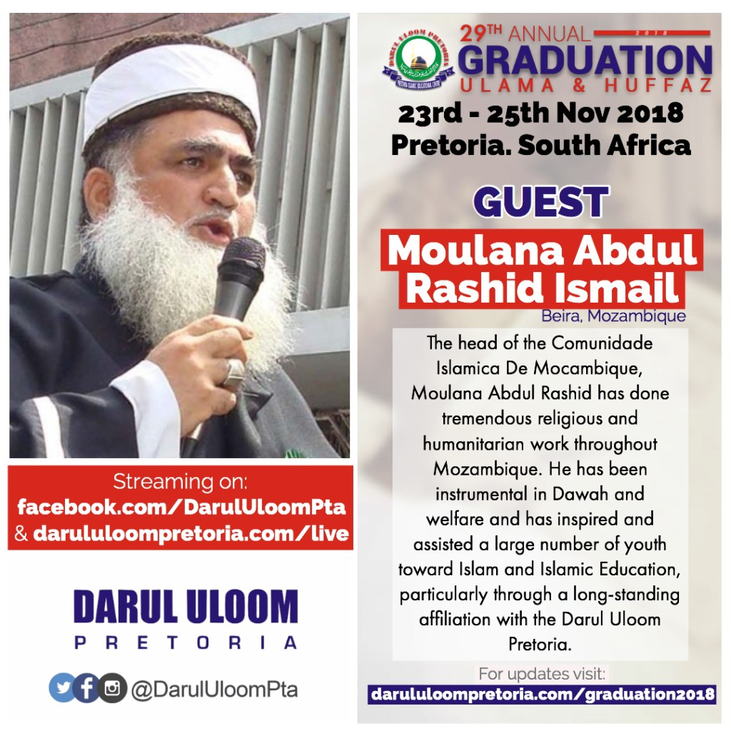 Moulana Abdul Rasheed at Darul Uloom Pretoria's 2018 Graduation