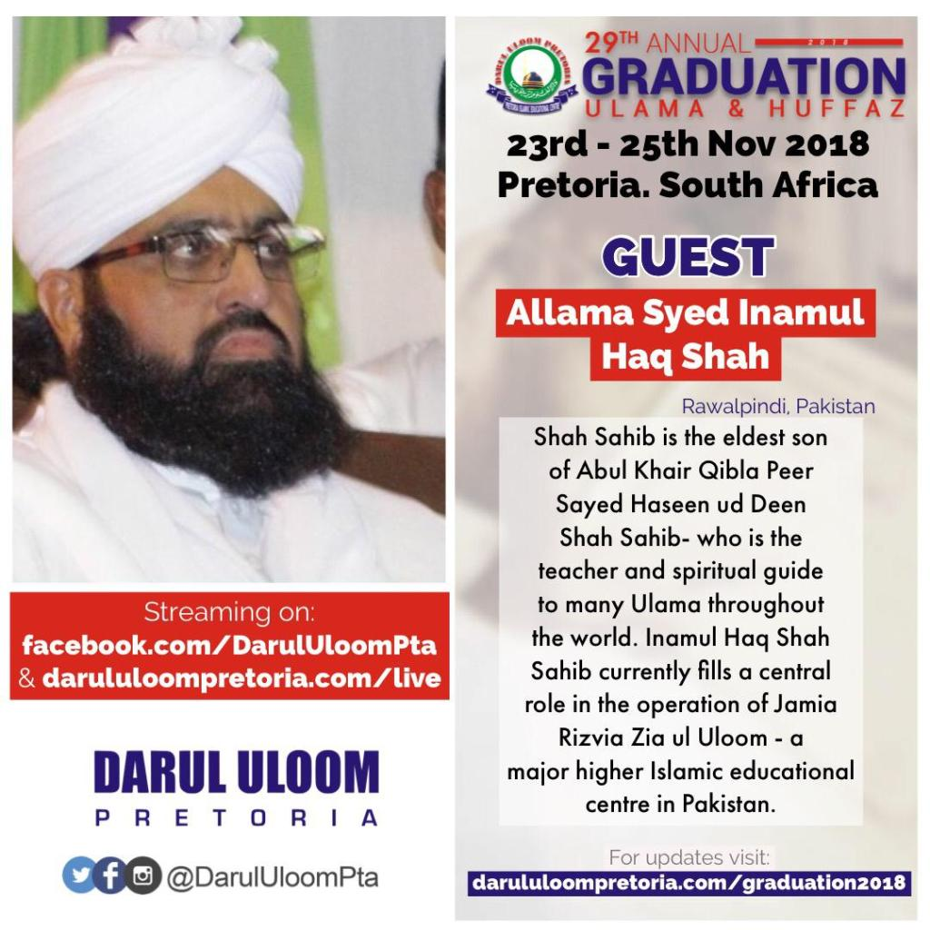 Allama Syed Inamul Haque Shah at Darul Uloom Pretoria's 29th Annual Graduation Ceremony