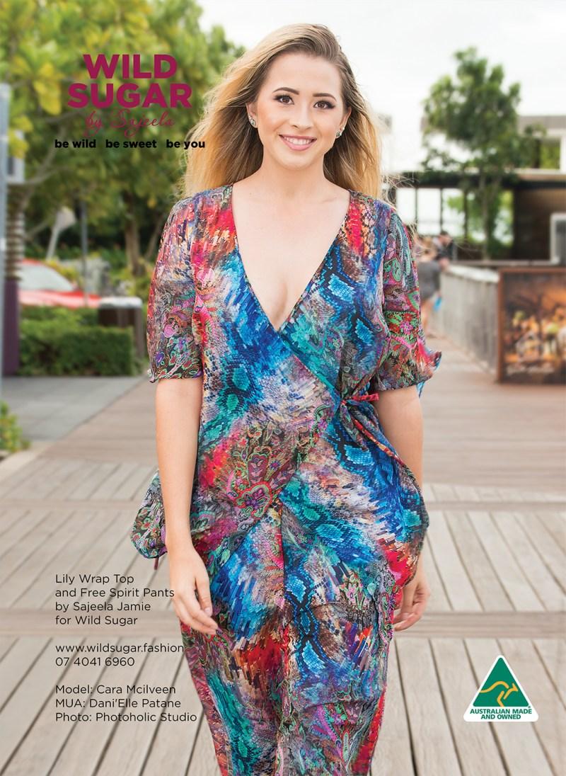 Lily Chiffon Wrap Top and Free Spirit Flared Pants in Raspberry Resort by Australian Fashion Designer Sajeela Jamie
