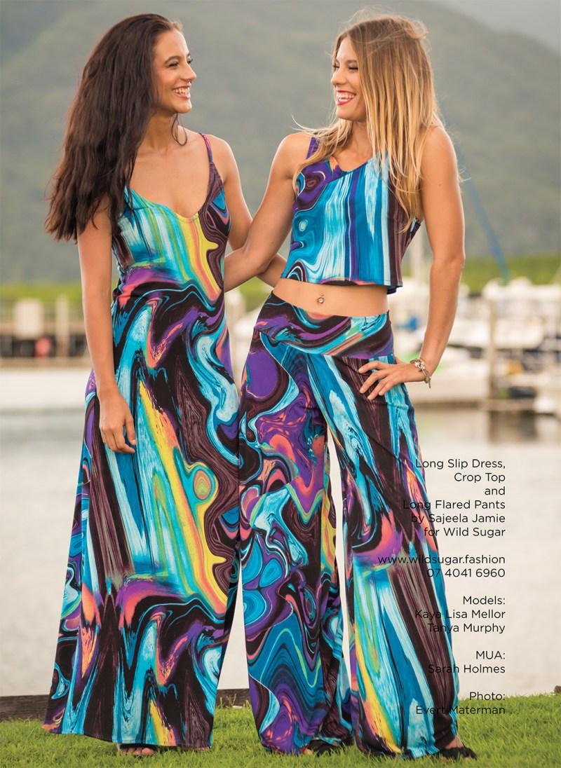Long Slip Dress, Crop Top and Flared Pants by Sajeela Jamie for Wild Sugar by Sajeela