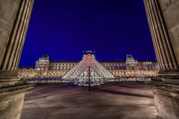Best places to take pictures in Paris - Louvre At Night. Taken with a Canon 6D and Rokinon 14mm f/2.8